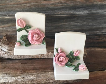 Vintage Ceramic Bookends, Rose Pattern, Desk Bookends, Home and Living, Collectible