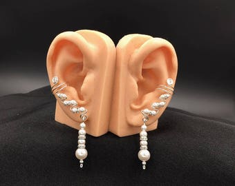 Sterling Silver and Swarovski Pearls Drop Ear Cuffs with sparkly crystals, pair