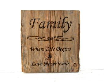 Family Barnwood Sign