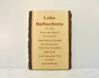 Lake Reflections Bark Edge Sign
