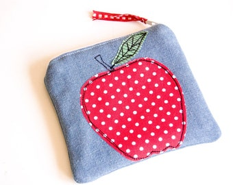 Handmade Zipped Denim Coin Purse decorated with an apple - gift - purse - free motion embroidery - teacher's gift