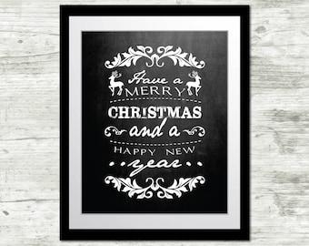 """Chalkboard Christmas Art Digital Download: """"Merry Christmas"""" 8x10 Printable"""
