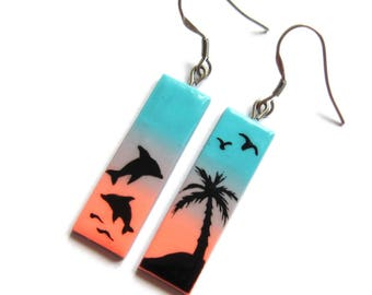 Palm Trees Earrings, Dolphin Earrings, Blue Earrings, Pink Earrings, Sunrise Jewelry, Rectangle Earrings, Ombre Earrings, Summer Jewelry