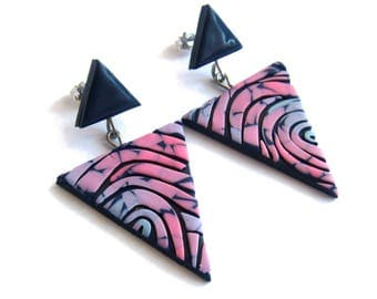 Triangle Earrings, Geometric Earrings, Retro Earrings, Retro Jewelry, Dusty Blue Earrings Pink Earrings Lavender Earrings Statement Earrings