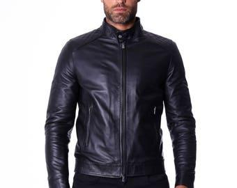 Genuine leather biker jacket, mao collar, quilted yoke on shoulders, soft leather, black color