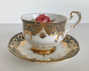 "Signed Paragon ""Antique Rose"" China Tea Cup and Saucer Teacup Set"
