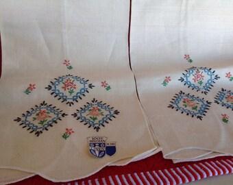 Vintage Belgian Linen Tea Towels with embroidered Design