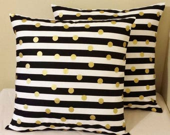 Modern Gold and Black Stripe Throw Pillow Cases - Invisible Zipper