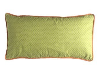 Cushion cover Provence flower apple green, edging cushion cover, orange dots, gray and white polka dots back. Ribbed, decorative cushion.