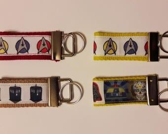 Key Fob - Star trek, Dr Who, Star Wars - Key ring, Key chain.