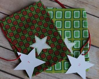 Advent Calendar bags fabric, Scandi advent calendar, advent bags, diy advent calendar kit countdown till christmas, 24 advent xmas calendar