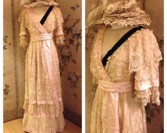 Most beautiful ethereal antique edwardian lace pink silk sash gown dress with pink silk sash~ stunning feminine display