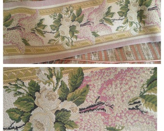 SALE~So beautiful unused vintage tapestry lilacs and roses pelmet lengths~ so romantic and pretty!
