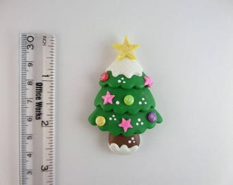 Christmas tree Green. Clay Charm Bead, Scrapbooking, Bow Center, Pendant, Cupcake topper, Magnet