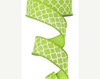 "SALE 1.5"" x 10yd, Quatrefoil lime green ribbon, quatrefoil wired ribbon, lime green wired ribbon, wired ribbon, lime green ribbon, ribbon,"