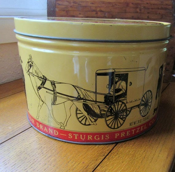Large Round Amish Pretzel Tin