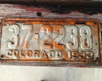 1933 Colorado License Plate - Antique - ( This is a single plate only)