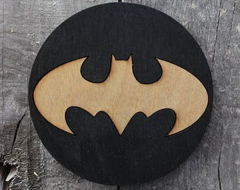 Batman Wood Coaster | Rustic/Vintage | Hand Stained and Glued | Comic Book Gift