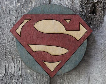 Superman Wood Coaster | Rustic/Vintage | Hand Stained and Glued | Comic Book Gift | Justice League