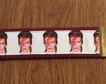 David Bowie Key Chain Zipper Pull Wristlet