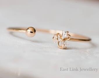 Petite slim style 14K Gold plated Czech crystal lucky flower bangle cuff bracelet