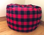 Bean Bag Chair Cover. Buffalo PLAID. Lumberjack. Bean Bag Chair COVER ONLY. Beanbag chair.  Floor Cushion.   Stuffed Animal Storage.