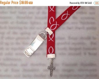 ON SALE Cross Bookmark / Christian Bookmark / Jesus Bookmark - Clip to book cover then mark the page with the ribbon. Never lose your bookma