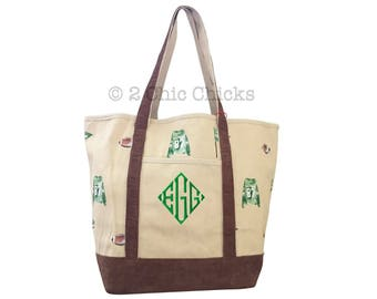 Monogram Canvas Tote Bag, Large Canvas Boat Tote, Football Print Tote, Personalized Canvas Boat Tote, Ballpark, Tailgating, Coach Tote