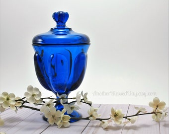 Viking Glass Bluenique Epic 6 Petal Candy Dish w/Lid /MCM Viking Glass/Vintage Blue Covered Candy Dish/1960's Home Decor/Viking Glass Dish