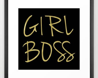Girl Boss Print or Canvas, Black and Gold, Girls Wall Decor, Teen Girl Room Decor, Dorm Wall Art, Canvas Art, Gifts for Her, Gifts for Women
