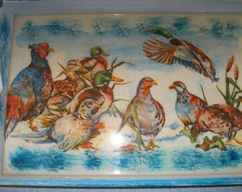 Blue tray for the table deco Partridge