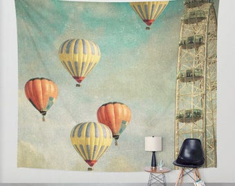 Wall Tapestry. Home Decor. Large Size Wall Art. Photo tapestry Wall Decor, modern decor hot air balloons whimsical wall art