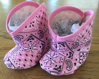 Infant baby pink bandana western cowgirl boots