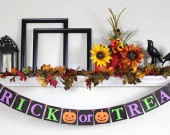 Halloween Decor - Trick or Treat Sign - Halloween Bunting - Halloween Decorations