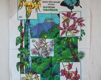 Vintage 1970s Souvenir Tea Towel - Wonga Belle Orchid North Queensland