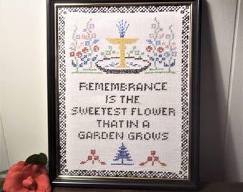 """Vintage Cross Stitched Sampler """"Remembrance........"""" Framed"""