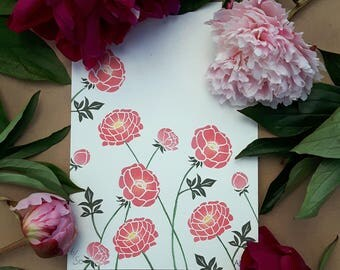 Limited Edition Art Print: Original Print of Peonies, Block Printed by Hand. A5 in Size, Unmounted.