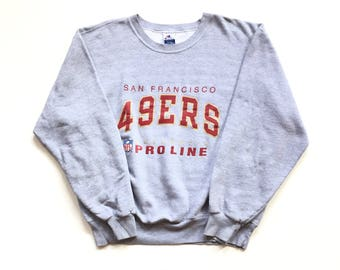 Vintage CHAMPION San Francisco 49ers authentic pro line NFL Football Crewneck sweatshirt size XXL Grey gray