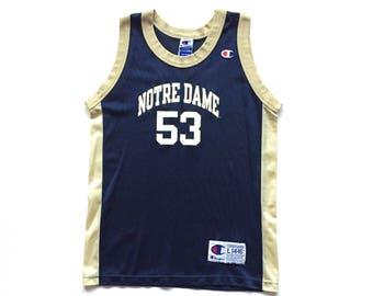 Vintage Champion NCAA Basketball Notre Dame Fightin' Irish # 53 Blank Throwback Jersey size 14 16 Large YOUTH unisex children's kid's