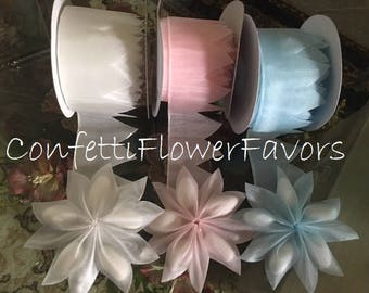 Flower Pull Bow Ribbon Jordan almonds, Coccarde ribbons, confetti flowers, Jordan almonds rolls, almond favors rolls DIY favors