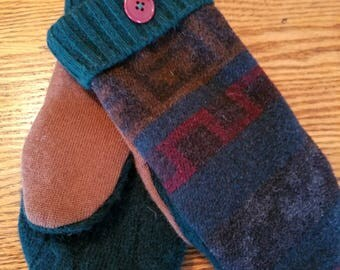 Upcycled Wool Mittens - medium