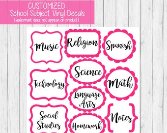 Back to School Subject Labels CUSTOMIZED - School Labels for Girls - Subject Labels - Vinyl Decals - School Supply Labels - Back to School