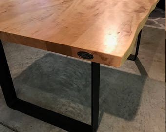 Live Edge Dining Table Curly Maple , Unique Wood Grain Dinner Table, Live Edge Table with Modern Flat Black Matte Legs