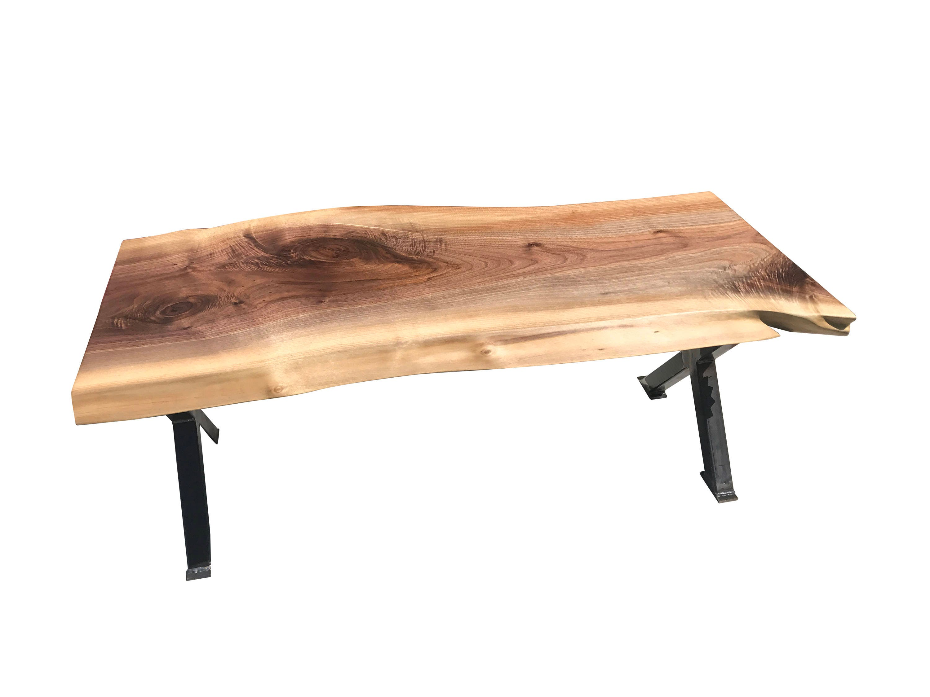Live Edge Black Walnut bench with Industrial X style Legs, Unique bench ships free
