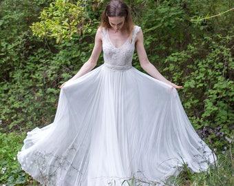 Bridal Dress, Lace Top, Boho Dress, Wedding Gown, Simple Lace Dress, Bridal Gown, Bridal Belt, Bridal Lace Wedding Dress, Boho Style, Boho