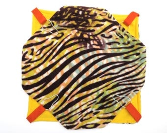 Large double hammock - guinea pigs, ferrets, rats, chinchillas - brown yellow orange zebra print - bunked hammock - hideout - READY TO SHIP