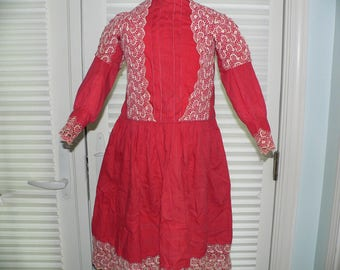 Little Girls Edwardian 1900.s Antique  Dress Red Cotton Dress with Embroidered Lace.