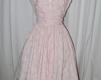 ON SALE 1950s Anne Fogarty Pink Cotton Print Dress with Beading