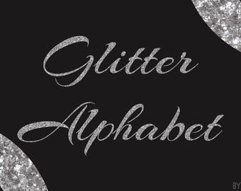Silver Glitter Alphabet Clipart 81 Images PNG Files Letters Numbers Special Characters Commercial Use Graphics Digital Clip Art