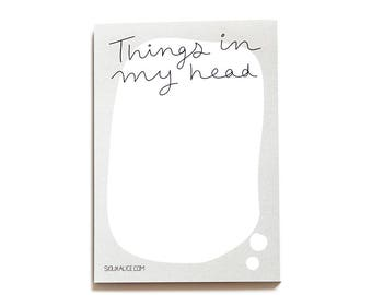 Notepad To do list |  funny to do list notepads jotter organiser funny gift stationery things in my head presents christmas stocking stuffer